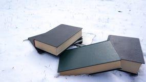 在雪的书 免版税库存照片
