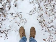 在雪的人常设外部 图库摄影