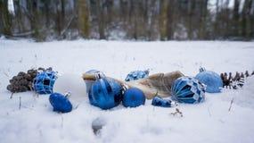 在雪的光明节装饰品 免版税图库摄影