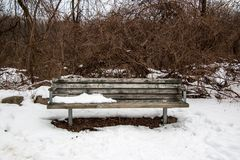 在雪的公园长椅 免版税库存图片