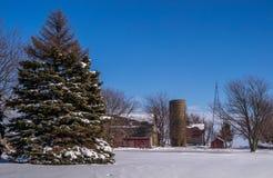 在雪的农村农厂场面 免版税库存图片