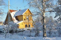 在雪的冬天农村路和结构树 库存照片
