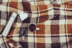 在雪的冬天野餐 在舒适温暖的毯子的热的茶、热水瓶和雪球心脏 库存图片
