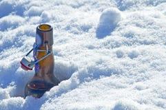在雪的啤酒瓶 库存图片