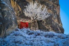 在雪的土耳其语摊位 免版税库存图片