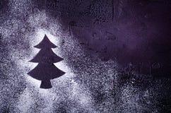 在雪的圣诞树剪影在黑背景 节假日概念 库存图片