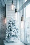 在雪的圣诞树在窗口 免版税库存图片