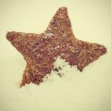 在雪的圣诞节星形与一个减速火箭的作用 免版税库存图片