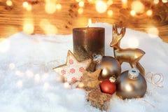 在雪的圣诞节静物画 图库摄影