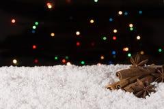 在雪的圣诞节香料与在背景的光 复制空间 图库摄影