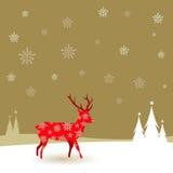 在雪的圣诞节鹿 免版税图库摄影