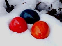 在雪的复活节彩蛋 免版税库存图片