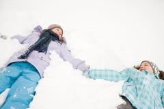 在雪的女孩 库存照片