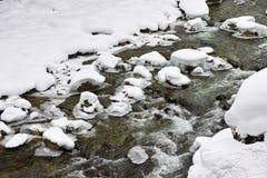 在雪的小河流程 图库摄影