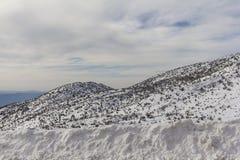 在雪的山 库存照片