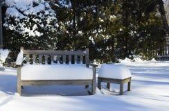 在雪的庭院长凳 免版税库存照片