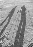 在雪的影子 免版税库存图片