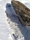 在雪的抽象岩石 免版税库存照片