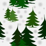 在雪的抽象绿色冷杉木与银色雪花 向量例证