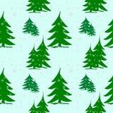 在雪的抽象绿色冷杉木与银色雪花 库存例证