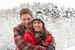 在雪的新夫妇 图库摄影
