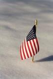 在雪的旗子 免版税库存照片