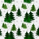 在雪的无缝的样式绿色冷杉木 库存照片