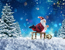 在雪的木偶圣诞老人 库存图片