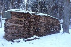 在雪的木柴 图库摄影