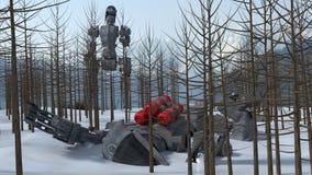 在雪的机器人 免版税库存图片
