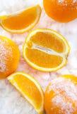 在雪的桔子 免版税库存图片