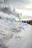 在雪的火车 免版税库存照片