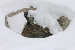 在雪的热水春天在古尔马尔格,克什米尔 库存照片