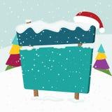 在雪的牌。圣诞节风景。 免版税库存图片