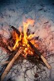 在雪的特写镜头篝火在冬天晚上 免版税图库摄影