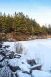 在雪的石头在湖 免版税库存图片