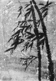 在雪的竹子 库存例证