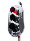 在雪的红绿灯。 空白背景。 免版税库存照片
