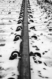 在雪的线 库存照片