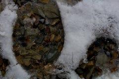 在雪的脚印沿岩石峡谷/普罗沃,犹他一串高山足迹  免版税库存照片