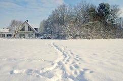 在雪的脚印 免版税库存图片