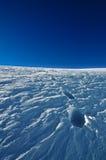 在雪的英尺步骤 免版税库存图片