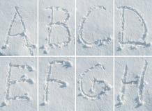 在雪的英语字母表-字体集合 免版税库存照片