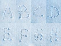 在雪的英语字母表-字体集合 免版税库存图片