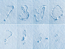 在雪的英语字母表-字体集合 库存照片