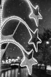 在雪的街灯 库存照片