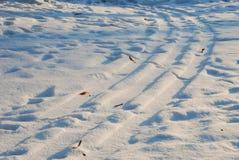 在雪的跟踪 免版税库存照片