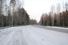 在雪的路在一个冬日 库存照片