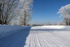 在雪的路在一个冬日 免版税库存图片