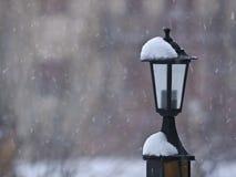 在雪的路灯柱 免版税库存照片